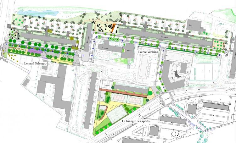 Plan masse des 4000 nord avec repérage des projets