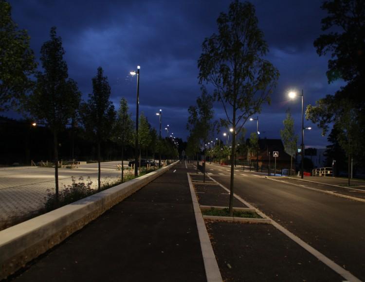 Le parking paysager - la nuit